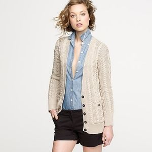 J. Crew Fisherman Cardigan Cable Knit Cotton Blend